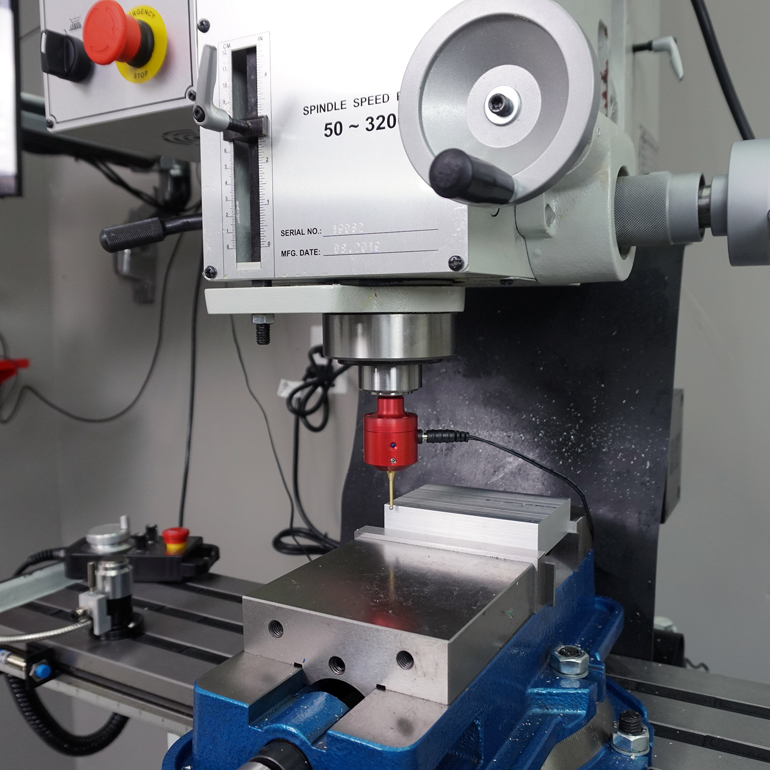 CNC mill and work touch probe